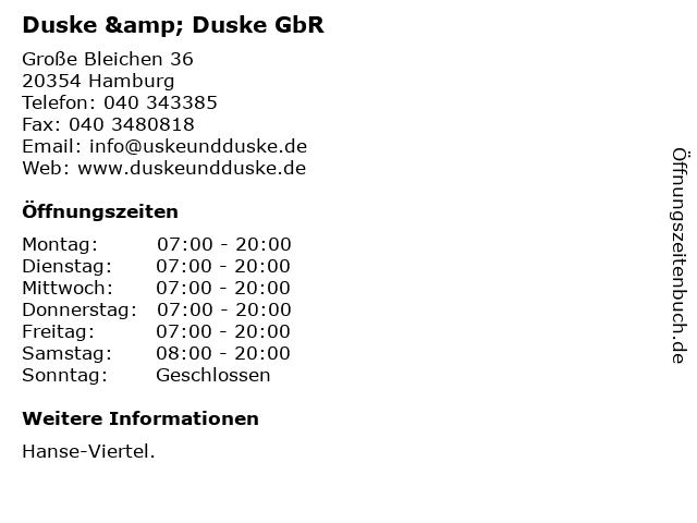 Duske & Duske GbR in Hamburg: Adresse und Öffnungszeiten