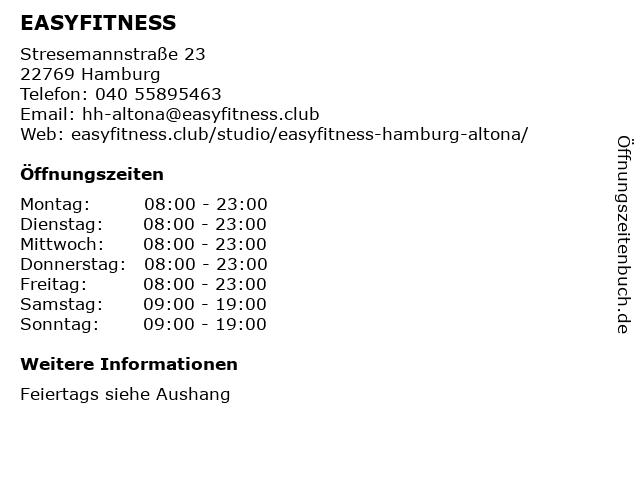 EASYFITNESS in Hamburg: Adresse und Öffnungszeiten