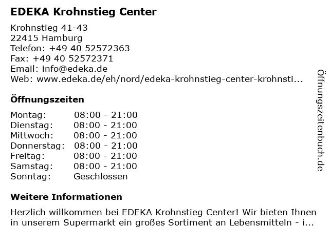 EDEKA Krohnstieg Center in Hamburg: Adresse und Öffnungszeiten