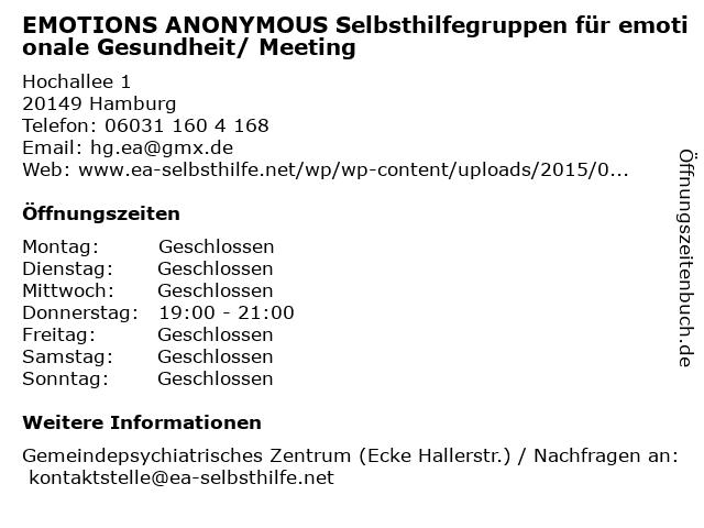 EMOTIONS ANONYMOUS Selbsthilfegruppen für emotionale Gesundheit/ Meeting in Hamburg: Adresse und Öffnungszeiten
