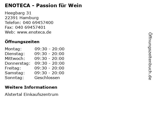 ENOTECA - Passion für Wein in Hamburg: Adresse und Öffnungszeiten
