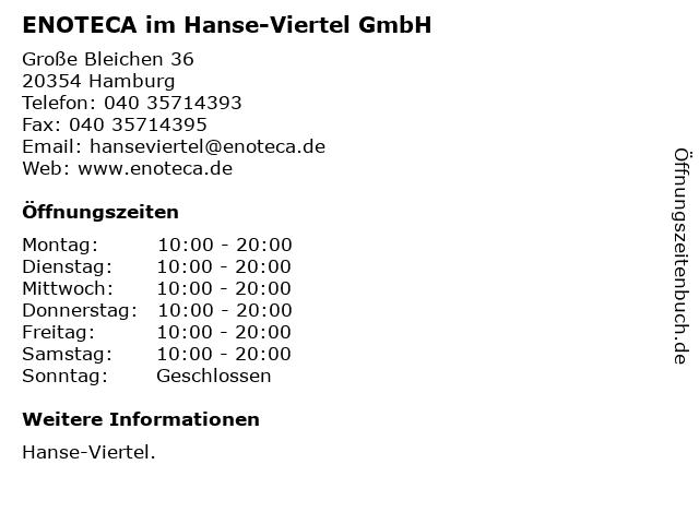ENOTECA im Hanse-Viertel GmbH in Hamburg: Adresse und Öffnungszeiten