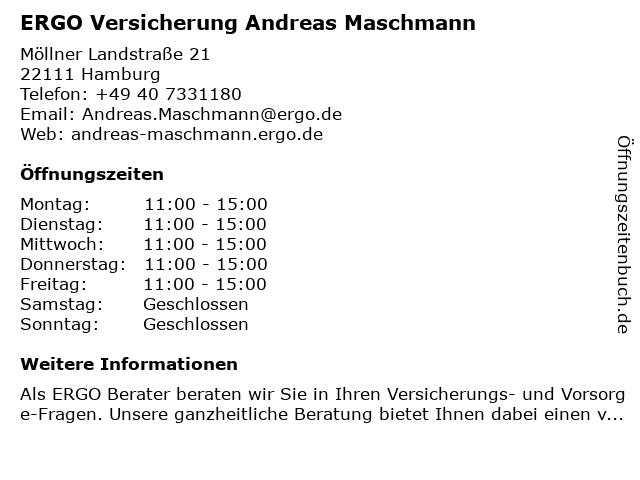 ERGO Versicherung Andreas Maschmann in Hamburg: Adresse und Öffnungszeiten