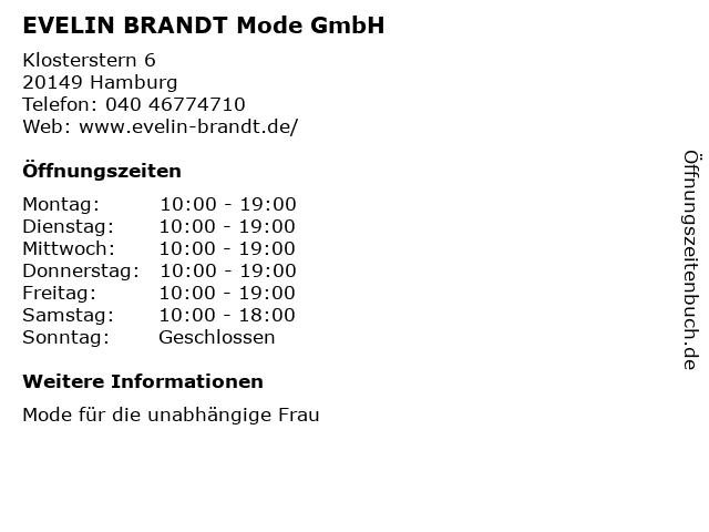 EVELIN BRANDT Mode GmbH in Hamburg: Adresse und Öffnungszeiten