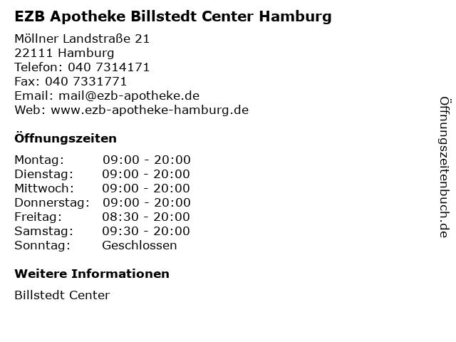 EZB Apotheke Billstedt Center Hamburg in Hamburg: Adresse und Öffnungszeiten