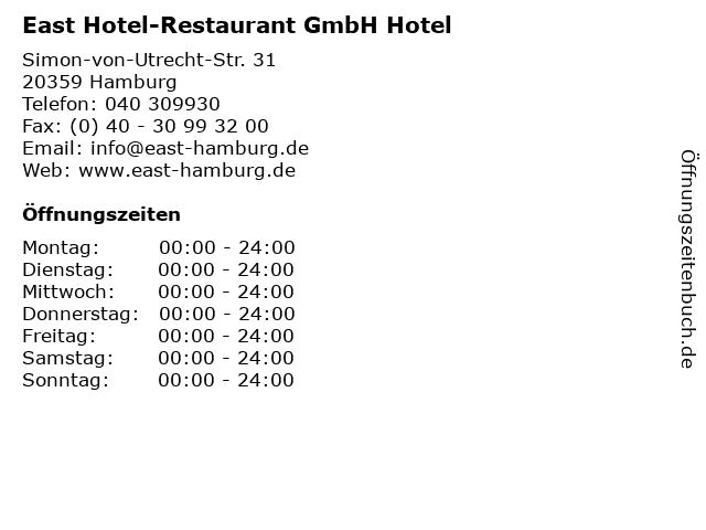East Hotel-Restaurant GmbH Hotel in Hamburg: Adresse und Öffnungszeiten