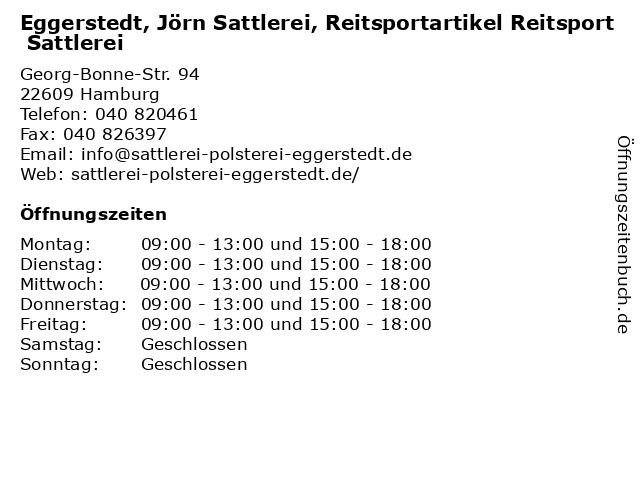Eggerstedt, Jörn Sattlerei, Reitsportartikel Reitsport Sattlerei in Hamburg: Adresse und Öffnungszeiten