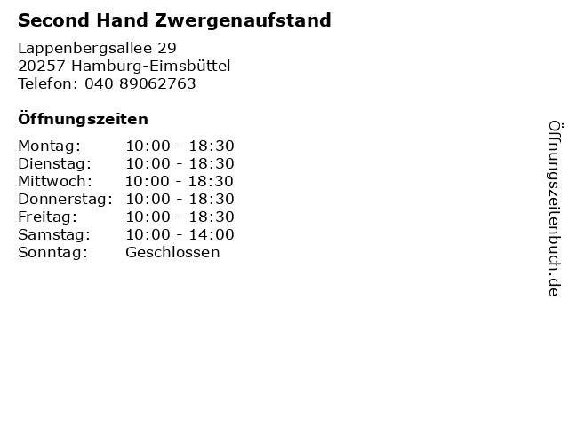 Second Hand Zwergenaufstand in Hamburg-Eimsbüttel: Adresse und Öffnungszeiten