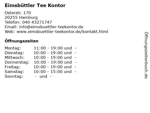 Eimsbüttler Tee Kontor in Hamburg: Adresse und Öffnungszeiten