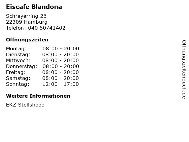Eiscafe Blandona in Hamburg: Adresse und Öffnungszeiten