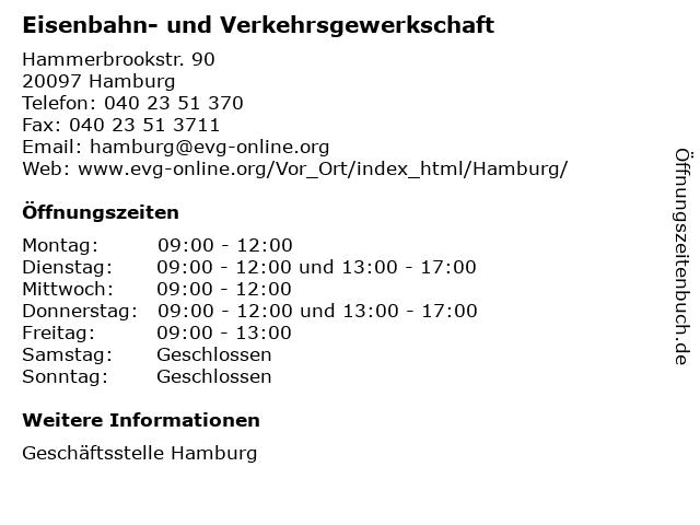 Eisenbahn- und Verkehrsgewerkschaft in Hamburg: Adresse und Öffnungszeiten