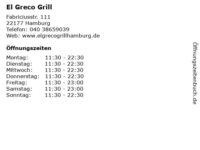El Greco Grill in Hamburg: Adresse und Öffnungszeiten