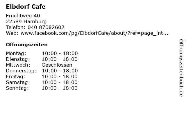 Elbdorf Cafe in Hamburg: Adresse und Öffnungszeiten