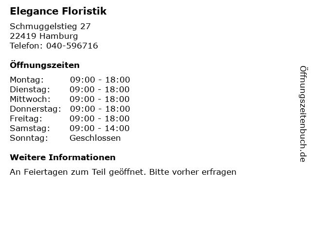 Elegance Floristik in Hamburg: Adresse und Öffnungszeiten