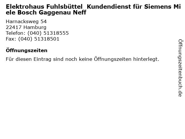 ᐅ Offnungszeiten Elektrohaus Fuhlsbuttel Kundendienst Fur Siemens