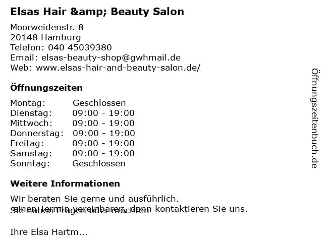 Elsas Hair & Beauty Salon in Hamburg: Adresse und Öffnungszeiten