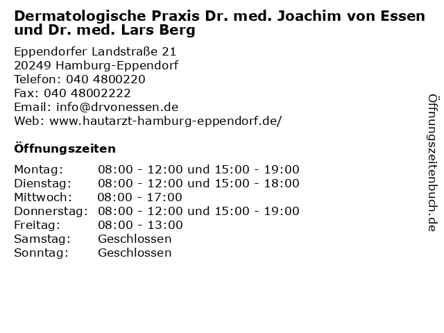 Dermatologische Praxis Dr. med. Joachim von Essen und Dr. med. Lars Berg in Hamburg-Eppendorf: Adresse und Öffnungszeiten