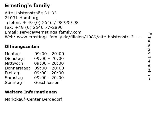 Ernsting's family GmbH & Co. KG in Hamburg: Adresse und Öffnungszeiten