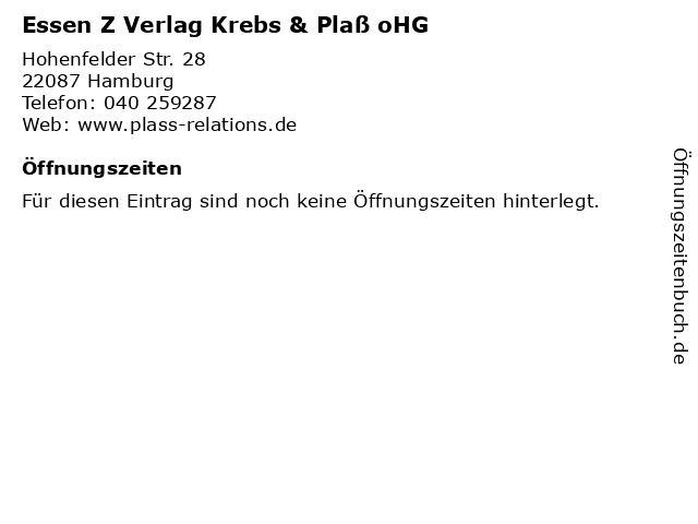 Essen Z Verlag Krebs & Plaß oHG in Hamburg: Adresse und Öffnungszeiten