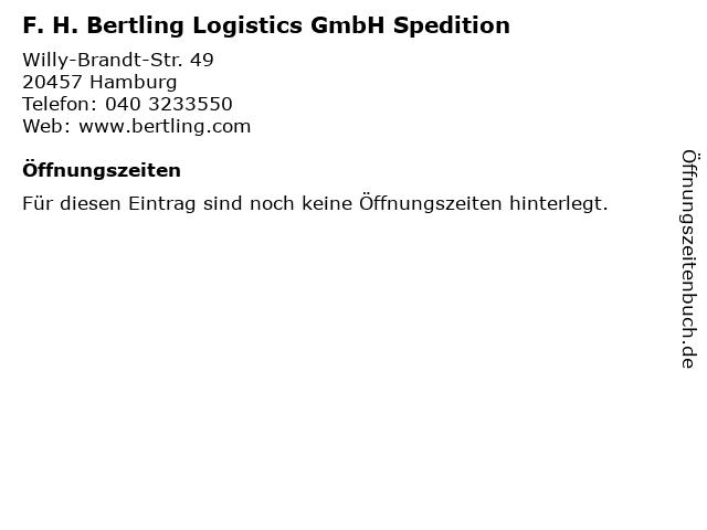 F. H. Bertling Logistics GmbH Spedition in Hamburg: Adresse und Öffnungszeiten