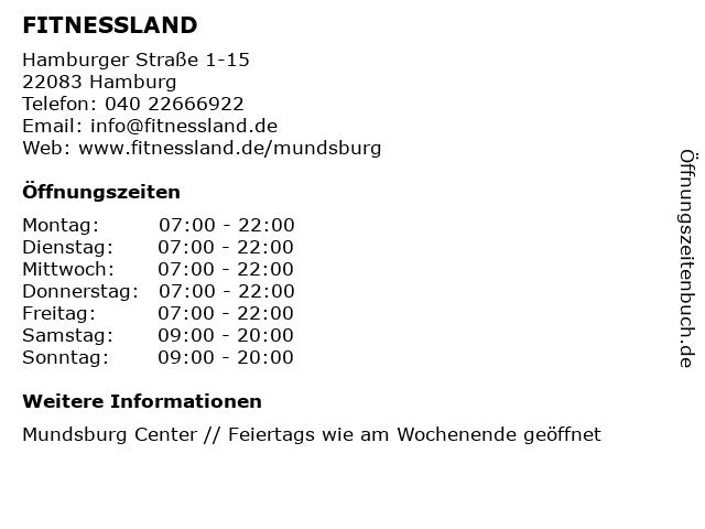 FITNESSLAND in Hamburg: Adresse und Öffnungszeiten