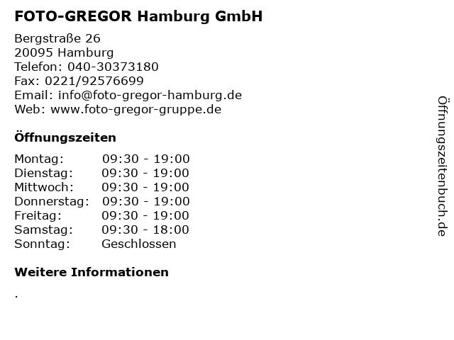 FOTO-GREGOR Hamburg GmbH in Hamburg: Adresse und Öffnungszeiten
