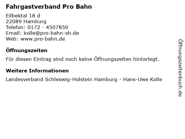Fahrgastverband Pro Bahn in Hamburg: Adresse und Öffnungszeiten