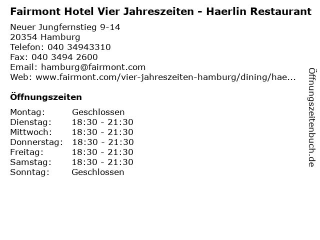 Fairmont Hotel Vier Jahreszeiten - Haerlin Restaurant in Hamburg: Adresse und Öffnungszeiten
