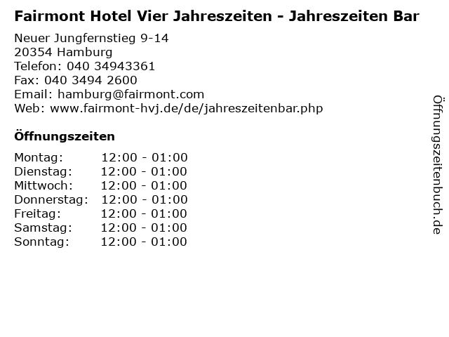 Fairmont Hotel Vier Jahreszeiten - Jahreszeiten Bar in Hamburg: Adresse und Öffnungszeiten