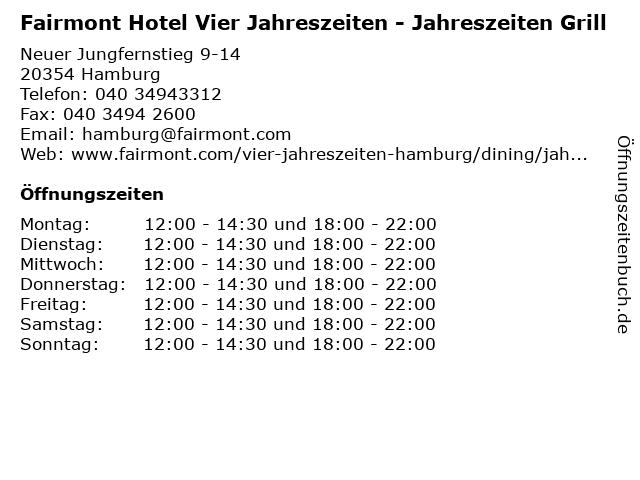 Fairmont Hotel Vier Jahreszeiten - Jahreszeiten Grill in Hamburg: Adresse und Öffnungszeiten