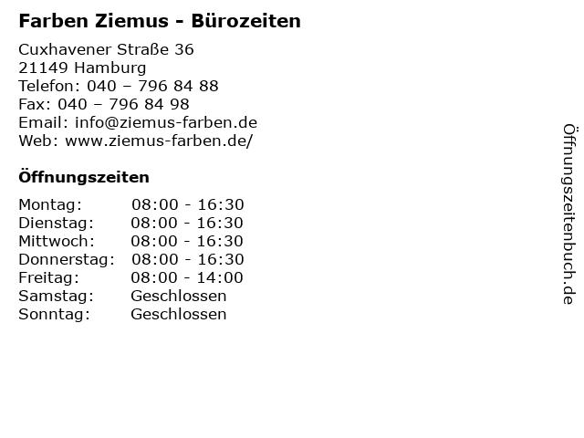 Farben Ziemus - Bürozeiten in Hamburg: Adresse und Öffnungszeiten