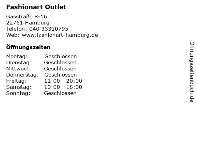 Fashionart Outlet in Hamburg: Adresse und Öffnungszeiten