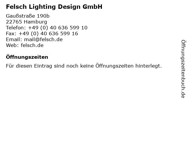 Felsch Lighting Design GmbH in Hamburg: Adresse und Öffnungszeiten