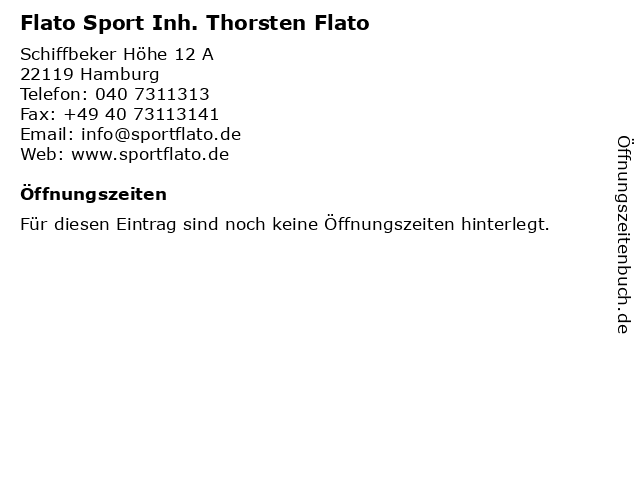 Flato Sport Inh. Thorsten Flato in Hamburg: Adresse und Öffnungszeiten
