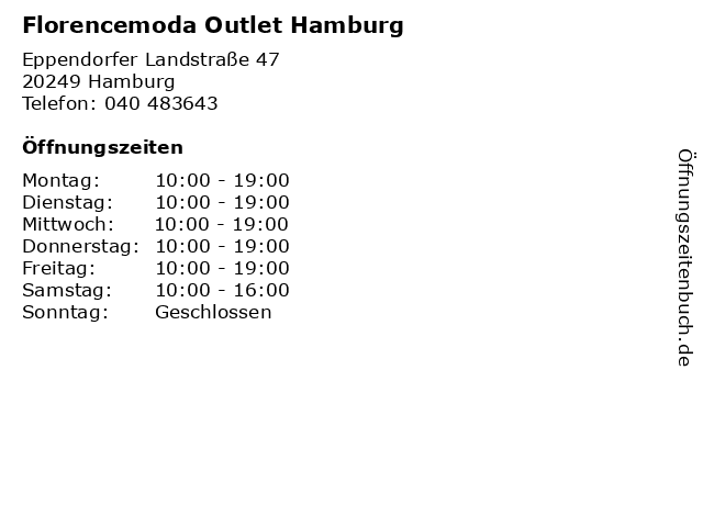 Florencemoda Outlet Hamburg in Hamburg: Adresse und Öffnungszeiten