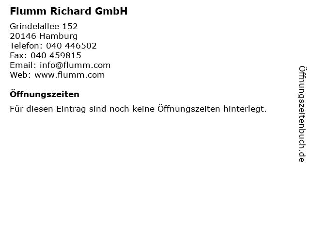 Flumm Richard GmbH in Hamburg: Adresse und Öffnungszeiten