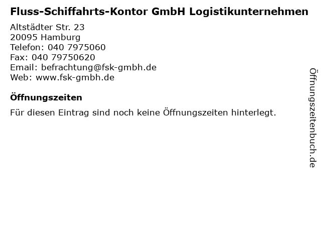 Fluss-Schiffahrts-Kontor GmbH Logistikunternehmen in Hamburg: Adresse und Öffnungszeiten