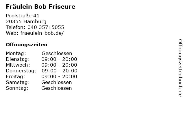 Fräulein Bob Friseure in Hamburg: Adresse und Öffnungszeiten