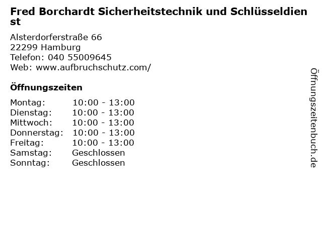 Fred Borchardt Sicherheitstechnik und Schlüsseldienst in Hamburg: Adresse und Öffnungszeiten