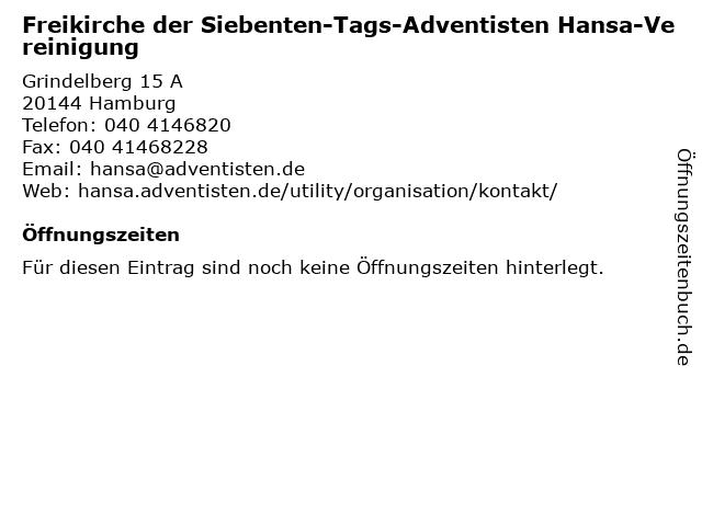 Freikirche der Siebenten-Tags-Adventisten Hansa-Vereinigung in Hamburg: Adresse und Öffnungszeiten