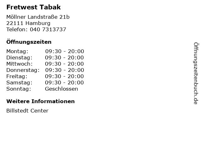Fretwest Tabak in Hamburg: Adresse und Öffnungszeiten