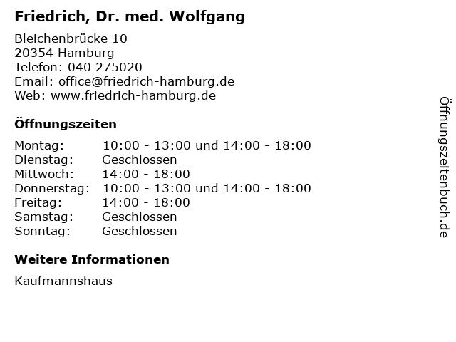 Friedrich, Dr. med. Wolfgang in Hamburg: Adresse und Öffnungszeiten
