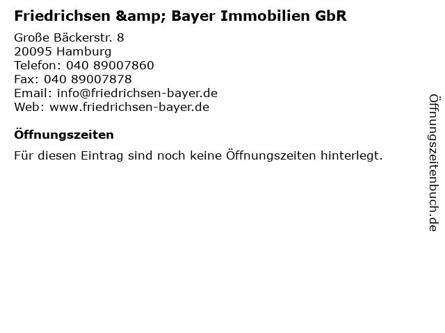 Friedrichsen & Bayer Immobilien GbR in Hamburg: Adresse und Öffnungszeiten
