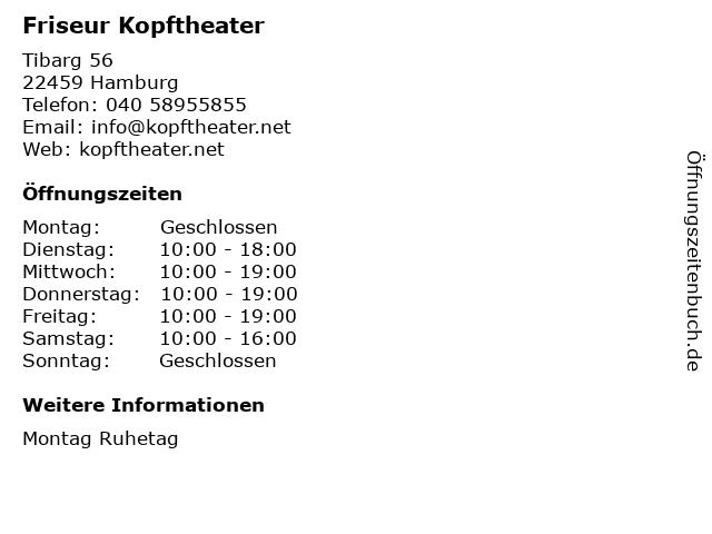 Friseur Kopftheater in Hamburg: Adresse und Öffnungszeiten