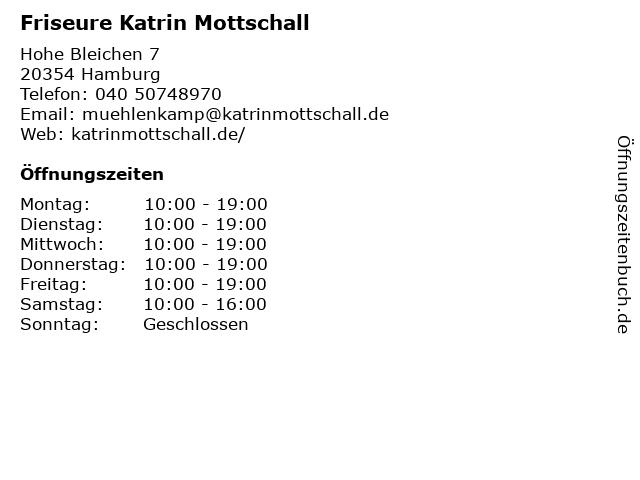 Friseure Katrin Mottschall in Hamburg: Adresse und Öffnungszeiten