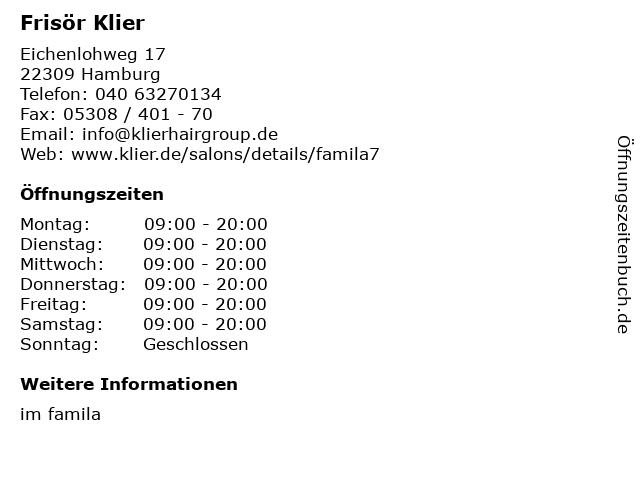 Frisör Klier GmbH in Hamburg: Adresse und Öffnungszeiten