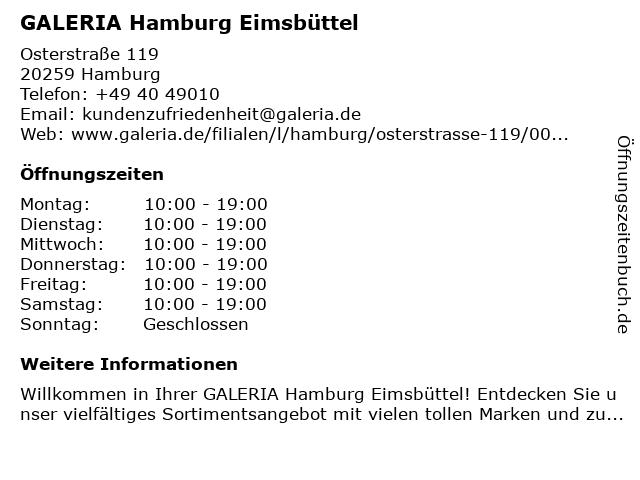 GALERIA (Karstadt) Hamburg Eimsbüttel in Hamburg: Adresse und Öffnungszeiten