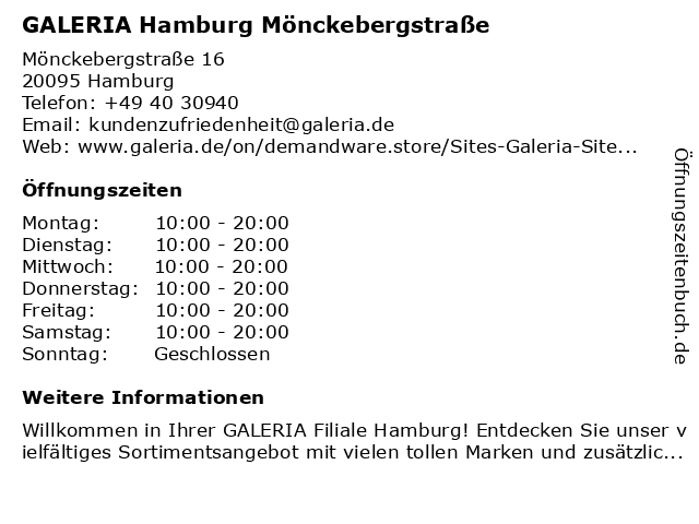 GALERIA (Karstadt) Hamburg Mönckebergstraße 16 in Hamburg: Adresse und Öffnungszeiten