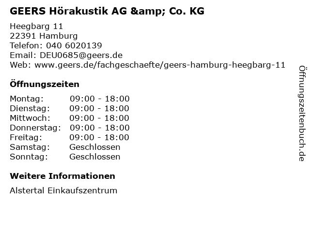GEERS Hörakustik AG & Co. KG in Hamburg: Adresse und Öffnungszeiten