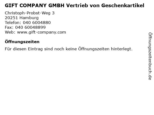 GIFT COMPANY GMBH Vertrieb von Geschenkartikel in Hamburg: Adresse und Öffnungszeiten